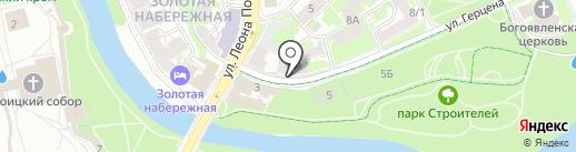 Славянское на карте Пскова