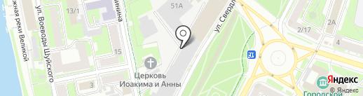 Псковская Лепнина на карте Пскова