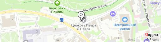 Церковь Петра и Павла с Буя на карте Пскова