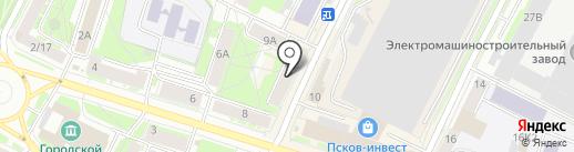 Фламинго на карте Пскова