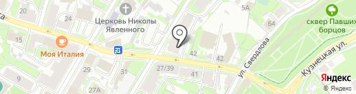 Силуэт на карте Пскова