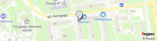 Сауна на ул. Алтаева на карте Пскова