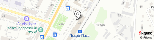 Железнодорожный вокзал на карте Пскова