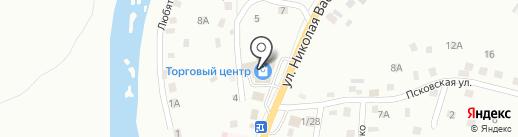 Рыбный магазин на ул. Николая Васильева на карте Пскова