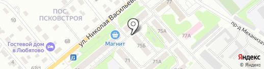 Киоск по ремонту обуви на карте Пскова