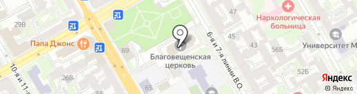 Церковь Благовещения Пресвятой Богородицы на карте Санкт-Петербурга