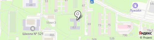Средняя общеобразовательная школа №521 с углубленным изучением математики и информатики на карте Санкт-Петербурга