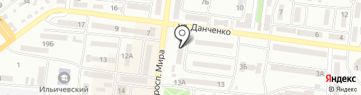 Городское отделение связи №1 на карте Ильичёвска