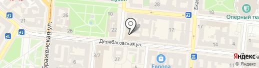 Кровать на Дерибасовской на карте Одессы