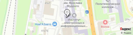 Ученые записки НовГУ на карте Великого Новгорода