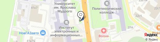 Киоск по продаже хлебобулочных изделий на карте Великого Новгорода