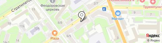 Этикетка на карте Великого Новгорода