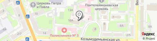 Автостоянка на Козьмодемьянской на карте Великого Новгорода