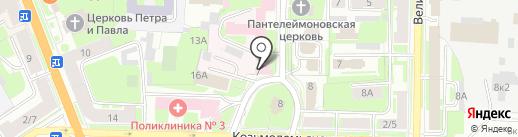 Физиотерапевтическая поликлиника на карте Великого Новгорода