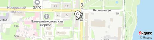 Дартс на карте Великого Новгорода