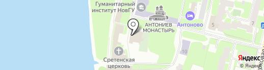 Собор рождества Богородицы Антониева монастыря на карте Великого Новгорода