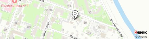 Пункт технического осмотра на карте Великого Новгорода