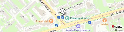 Киоск по продаже фруктов и овощей на карте Смоленска