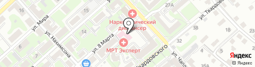 Каскад на карте Смоленска