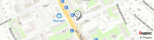 Киоск по продаже текстиля на карте Смоленска