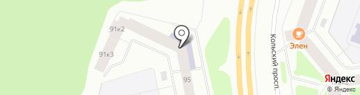 Центральная городская библиотека на карте Мурманска