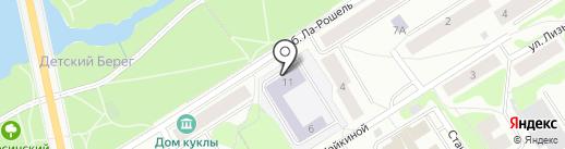 Ломоносовская гимназия на карте Петрозаводска