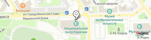 Национальный театр Карелии на карте Петрозаводска