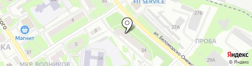 Городская поликлиника №4 на карте Петрозаводска