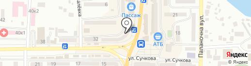 Магазин мяса на карте Новомосковска