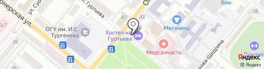 Хостел на Гуртьева на карте Орла