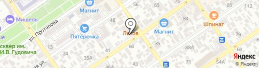 Анапа на ладони на карте Анапы