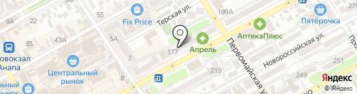 Управление социальной защиты населения Министерства труда и социального развития Краснодарского края в городе-курорте Анапа на карте Анапы