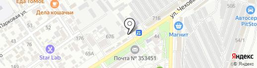 Шиномонтажная мастерская на ул. Чехова на карте Анапы