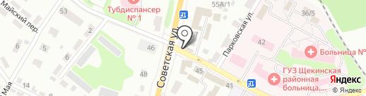 Сова на карте Щёкино