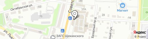 Магазин крепежа и электроинструмента на карте Щёкино