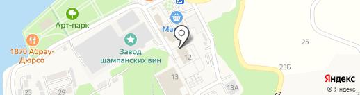 Абрау-Дюрсо на карте Новороссийска