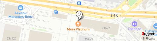 Красная машина на карте Москвы
