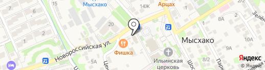 Хмельное на карте Новороссийска