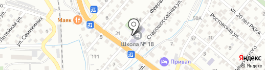 Средняя общеобразовательная школа №18 на карте Новороссийска