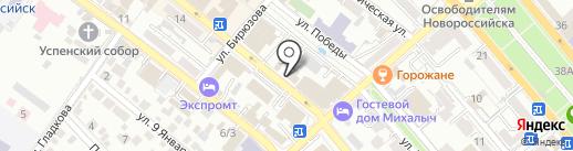 Белый кот на карте Новороссийска