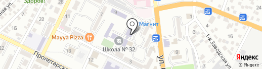 Карандаш на карте Новороссийска