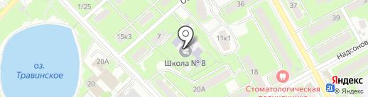 Средняя общеобразовательная школа №8 с углубленным изучением отдельных предметов на карте Пушкино