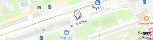 Автостоянка на ул. Октября на карте Реутова