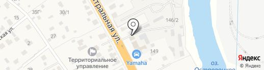Автомойка на Центральной на карте Островцев