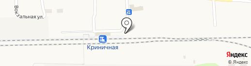 Привокзальный, продуктовый магазин на карте Криничной