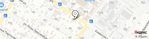Дэнас на карте Геленджика