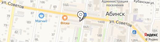 Киоск фастфудной продукции на карте Абинска