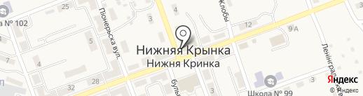 Нижнекрынский поселковый совет на карте Нижней Крынки