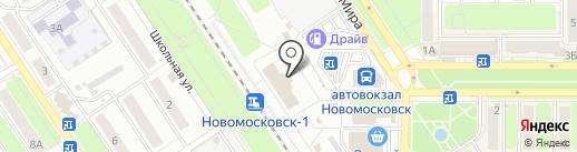 Железнодорожный вокзал на карте Новомосковска