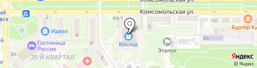 Восход на карте Новомосковска